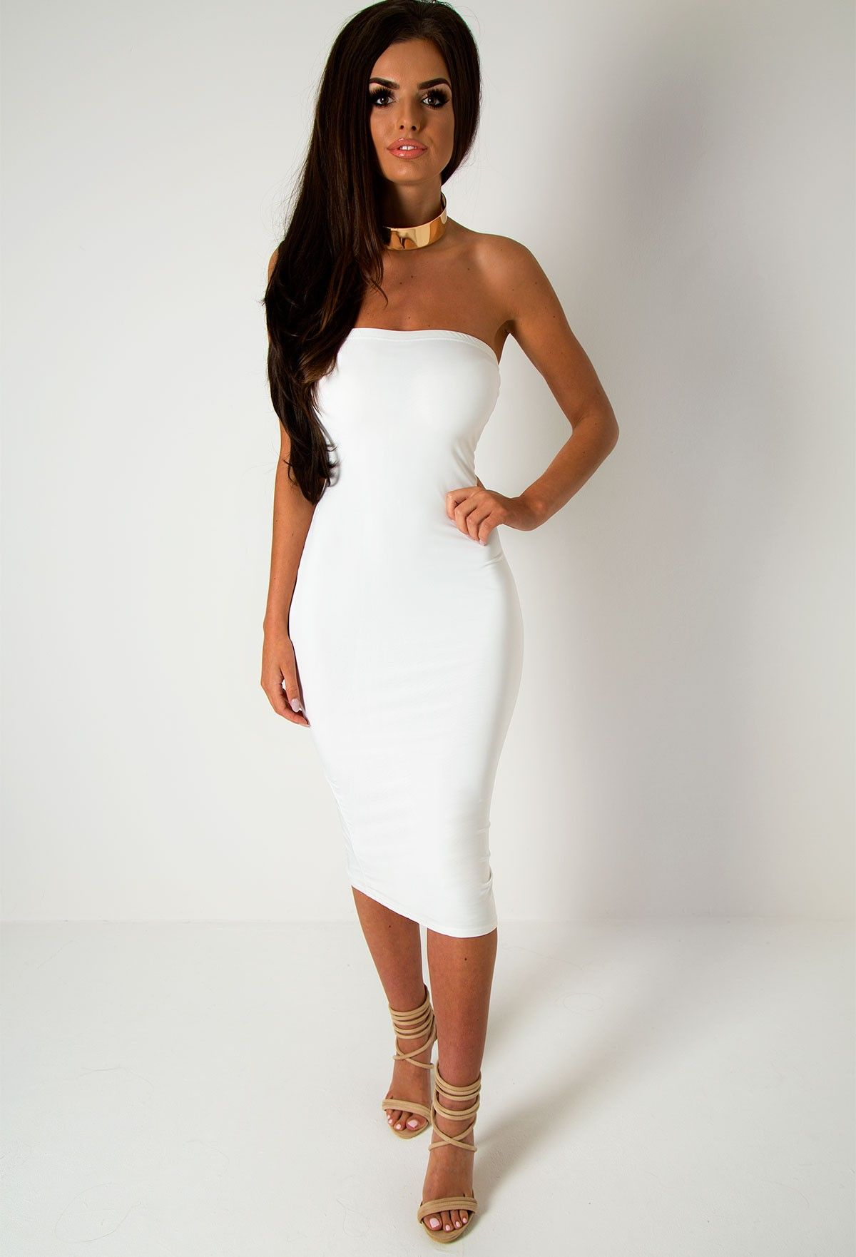 1adfc1d46612 Tiffany White Strapless Midi Dress