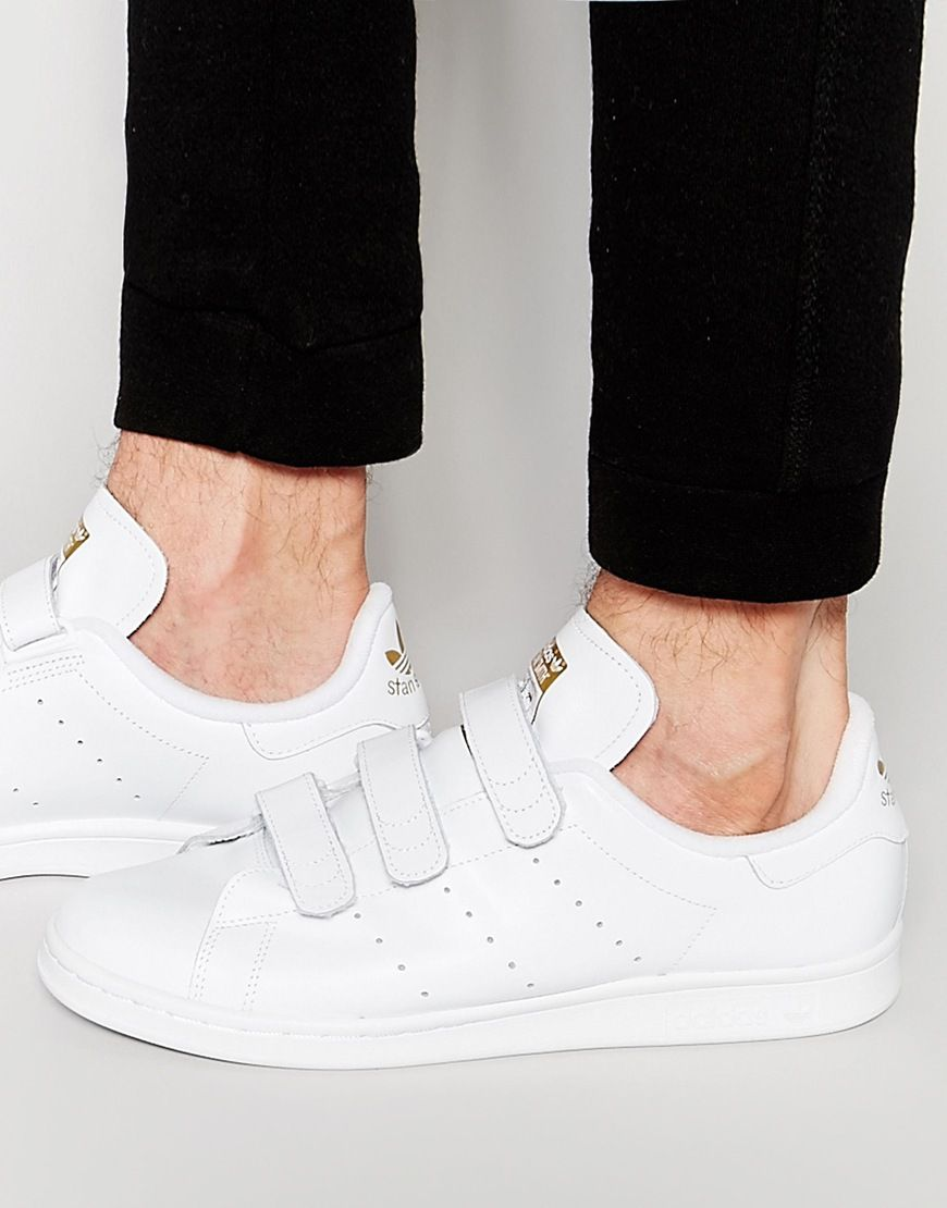 adidas originals stan smith velcro sneakers in white and blue