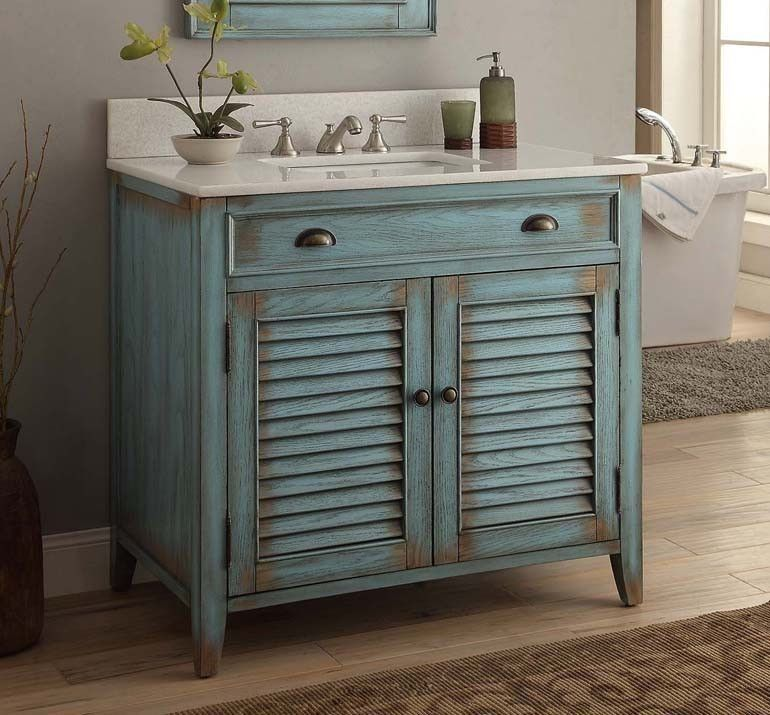 36 Distress Blue Abbeville Bathroom Sink Vanity Cf28884bu