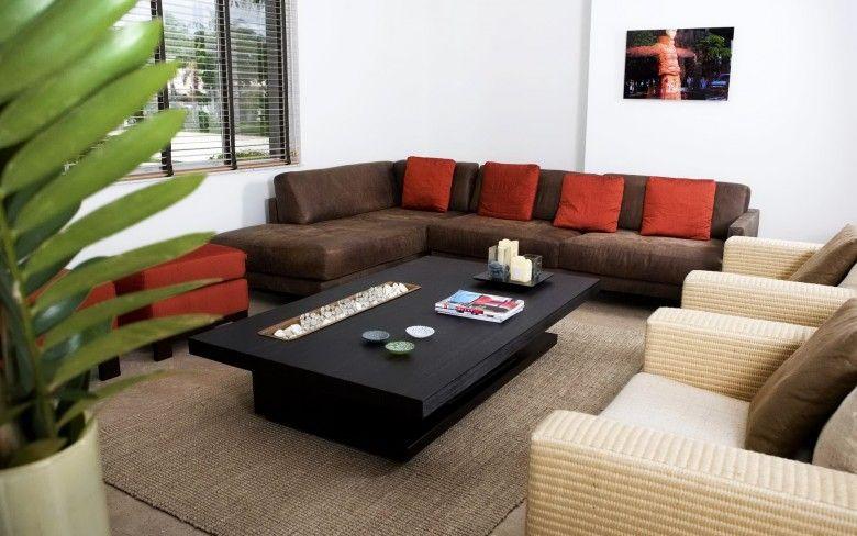Einbeziehung von Braun und Blaugrün Für Wohnzimmer Moderne und