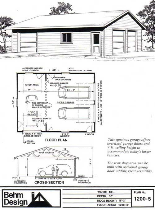 Garage Plans With Shop 1200 5 Garage Plans Garage Plans Detached Garage Design