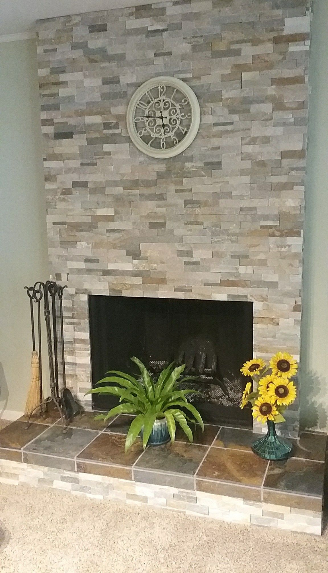 Desert Quartz And Mongolian Desert Slate In Fireplace Makeover