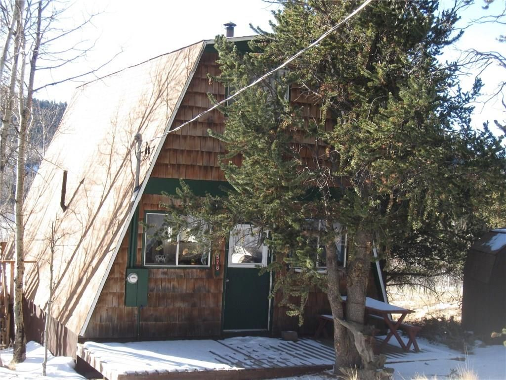 Talk about bang for your buck...Great opportunity! Mountain cabin w/shed on 3 treed acres, great views, private fishing rights, Nt'l Forest access minutes away, year round access on county maintained roads...and just 80 miles from Denver. It IS to good to be true! Cozy & simple A-Frame w/loft & 3 decks, compact kitchen and awesome woodstove. Seller will install electric heat upon accepted offer, making this eligible for financing. Stagestop Saloon close by & Tarryall...
