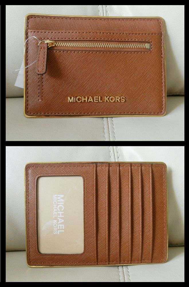 56a08216a80d New Michael Kors Specchio Jet Set Travel Flat Card Holder Luggage Brown   MichaelKors  CardWallet
