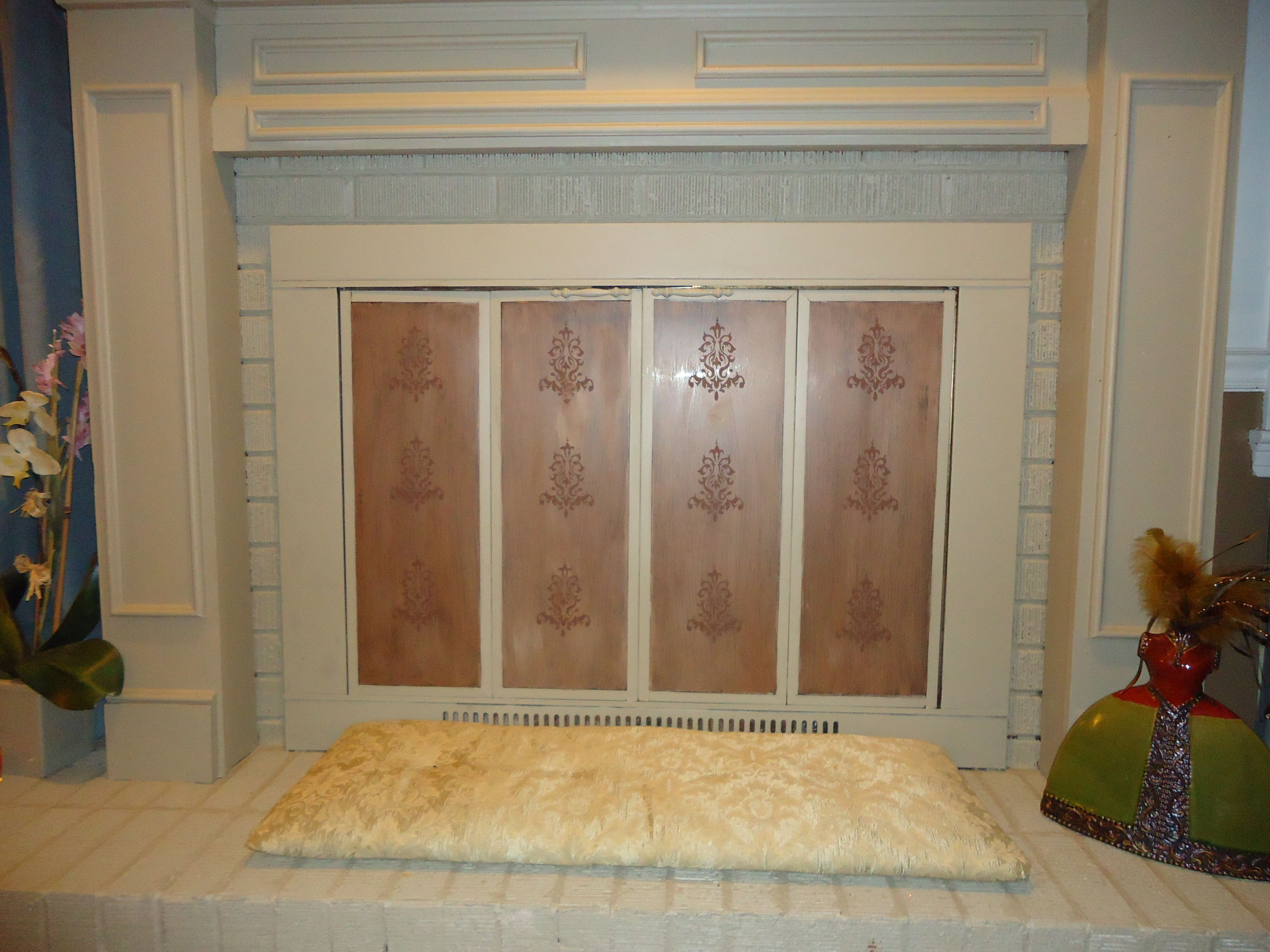 I Was So Tired Of Covering The Ugly Brass And Glass Fireplace Doors
