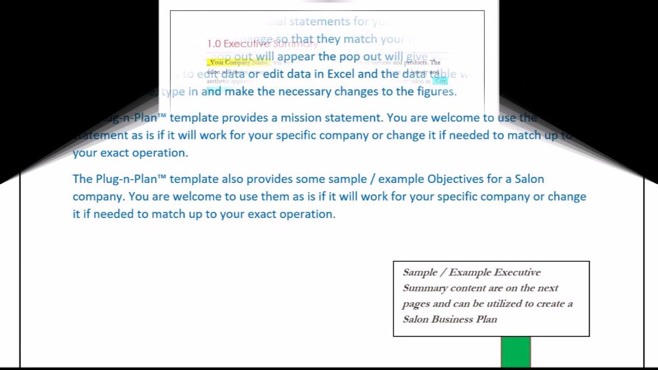 Salon Business Plan Executive Summary  Example Sample  Salon