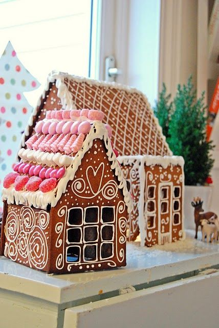 The kids and I used to do ginger bread houses every Christmas but THIS is cute.  I love the way the walls are done!