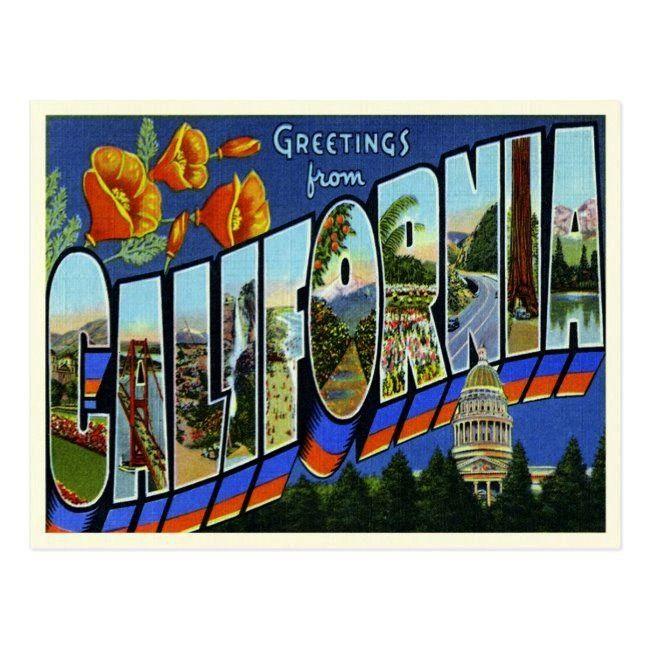 California PostcardVintage California Postcard US road trip Springfield IL Greetings from Spokane WA 6 Sizes Art Prints Giclees Posters Wood  Metal Signs Tote Bag Towe Pa...