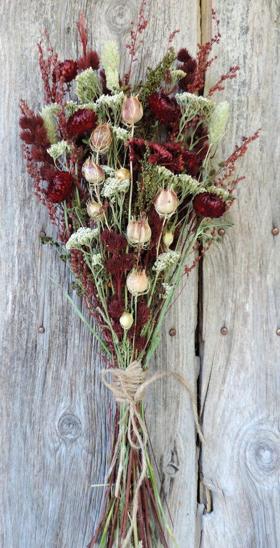 Dried Flower Bouquet Floral Arrangement Strawflowers Wild Grasses ...