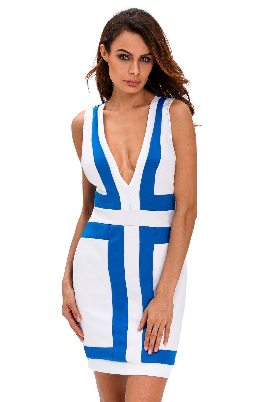 Prix: €11.80 Robes Moulantes Light Bleu Blanc Color Block Col En V Robe Sans Manches Pas Cher www.modebuy.com @Modebuy #Modebuy #CommeMontre #Blanc #robes #Bleu