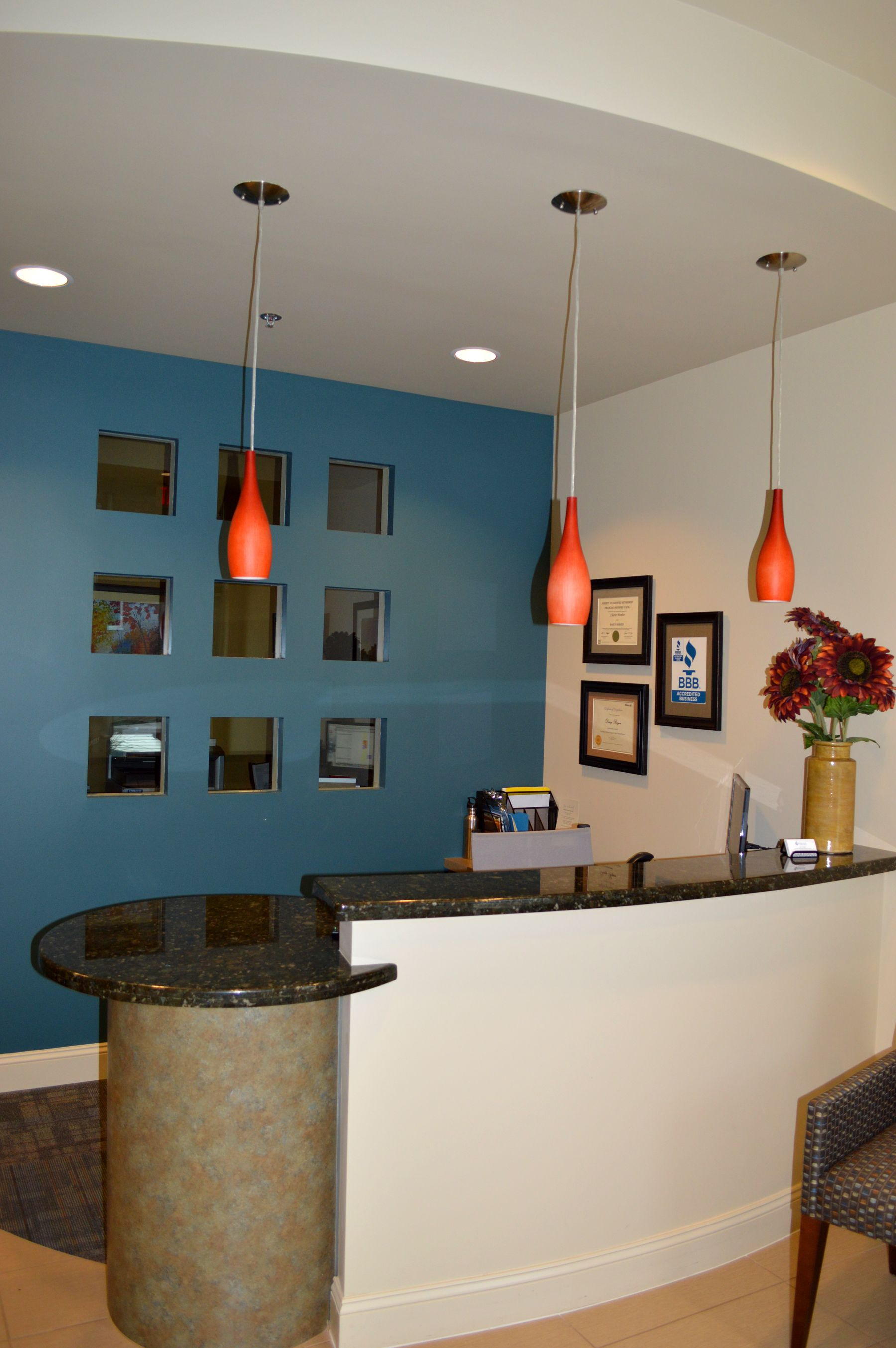 Clear Solutions Custom Reception Desk, Interior Design by NM Interiors Group