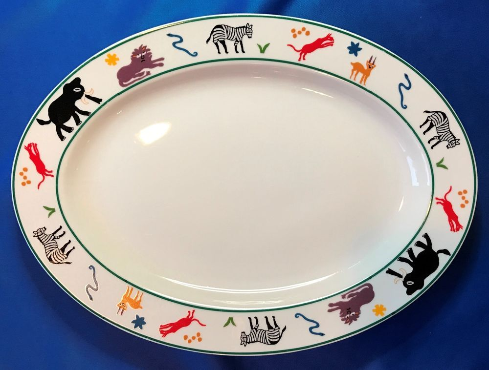 Pottery Barn Safari Animal 14 3 8 Oval Serving Platter Discontinued Idg
