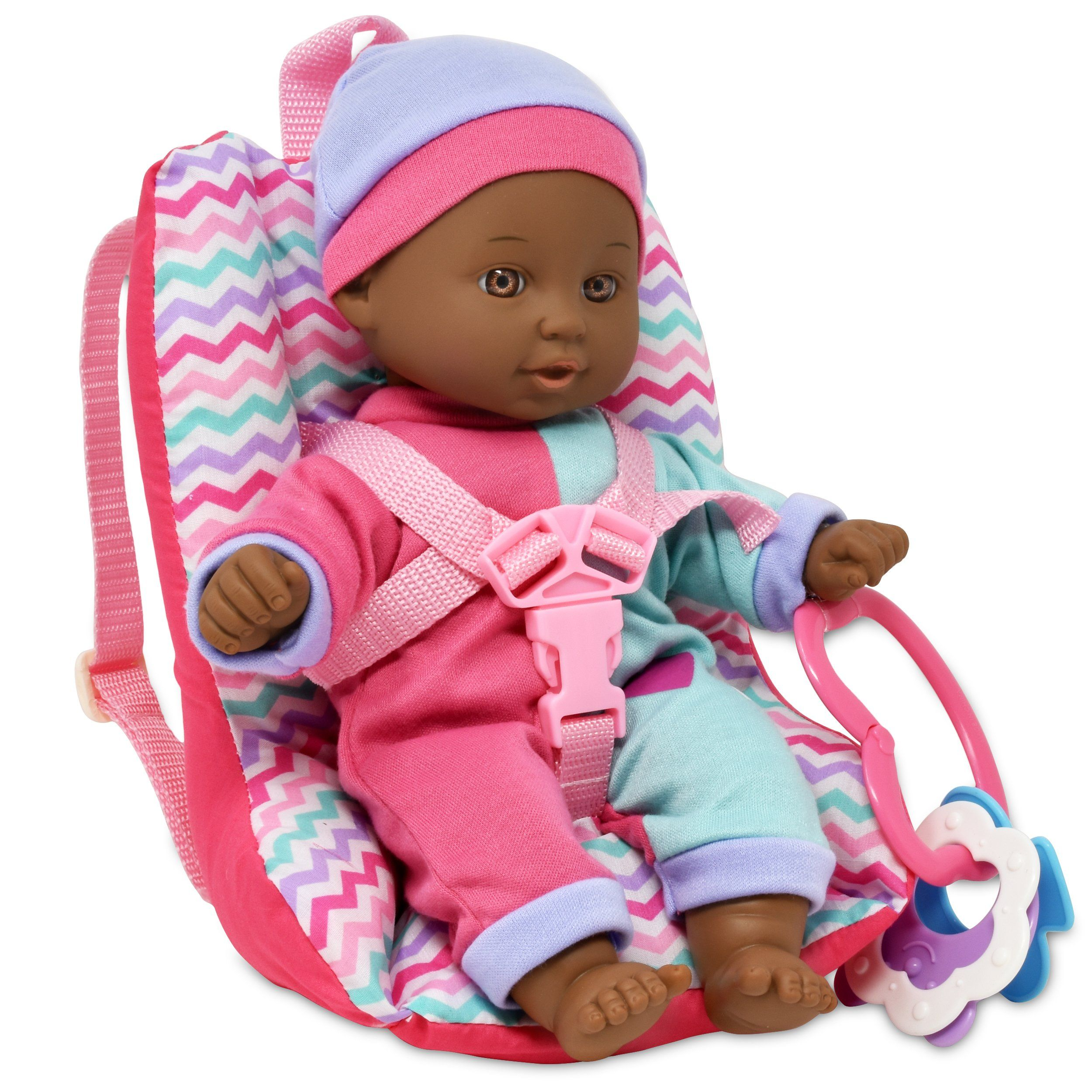 Baby Doll Car Seat With Toy Accessories Includes 12 Inch Soft Body Doll Booster Seat Carrier Diaper Bag With Ratt Baby Doll Car Seat Travel Gift Set Baby Dolls