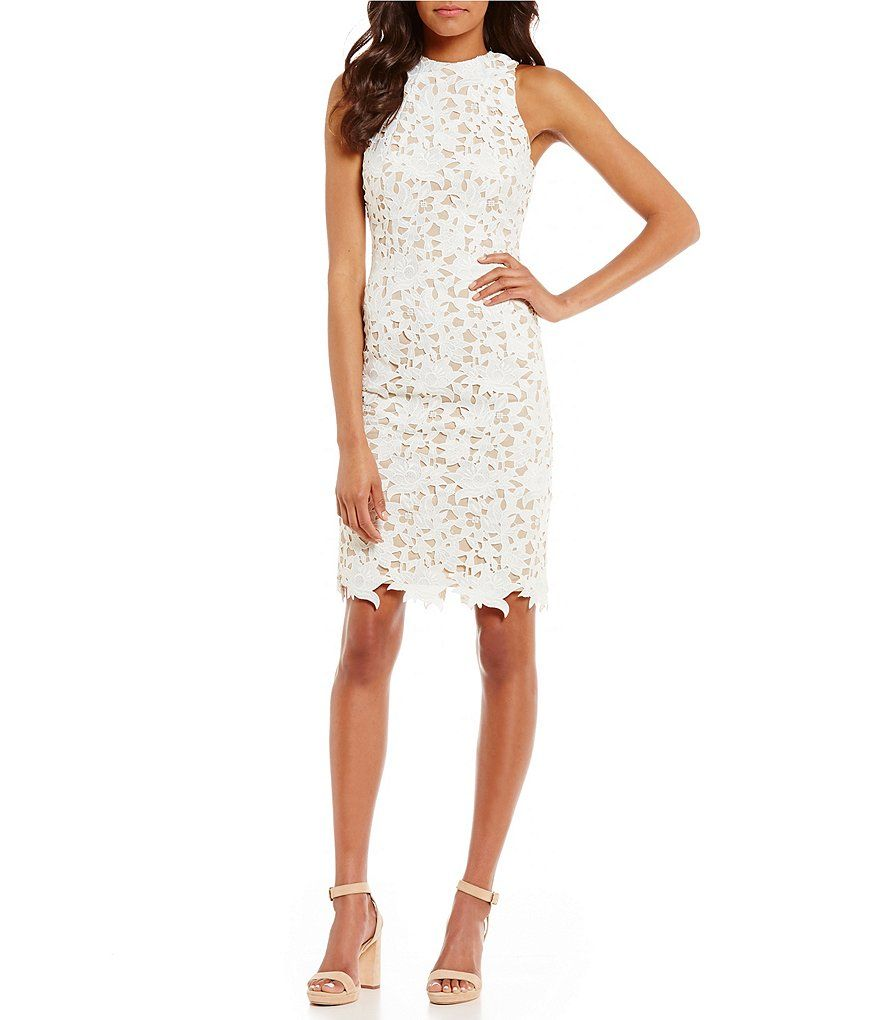 Antonio Melani Peggy Round Neck Sleeveless Lace Sheath Dress ...