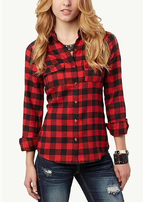 Plaid Shirts For Women. Ready to pop some pattern into your wardrobe? Check out our terrific selection of plaid shirts for women. Whether you're headed to the mall or a night out on the town, these trendy tops are sure to give your look a bold boost.