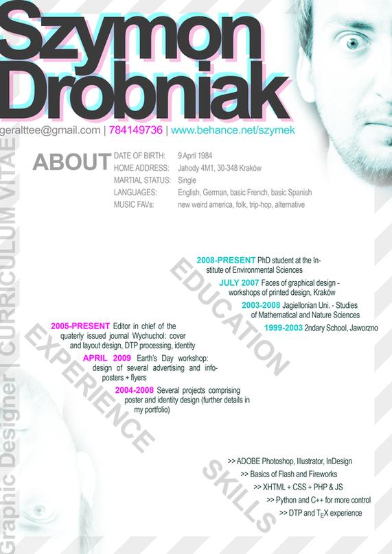 CV = course of life by Szymek Drobniak, via Behance