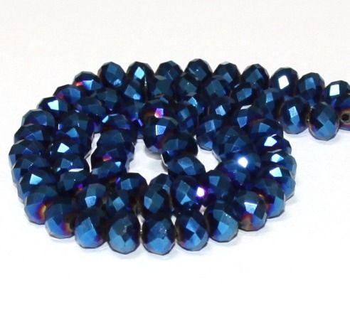 10 x perle electroplate Bleu irise 8x6mm, en Verre, Forme ovale a facette -- PVE-0020.4 : Perles en Verre par crehando