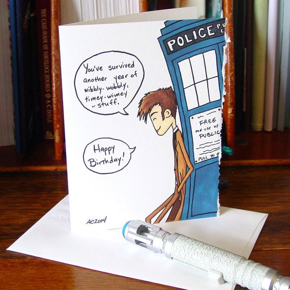 Doctor Who Birthday Card Tenth Doctor Timey Wimey Dr Who Birthday Card Doctor Who Birthday Birthday Cards