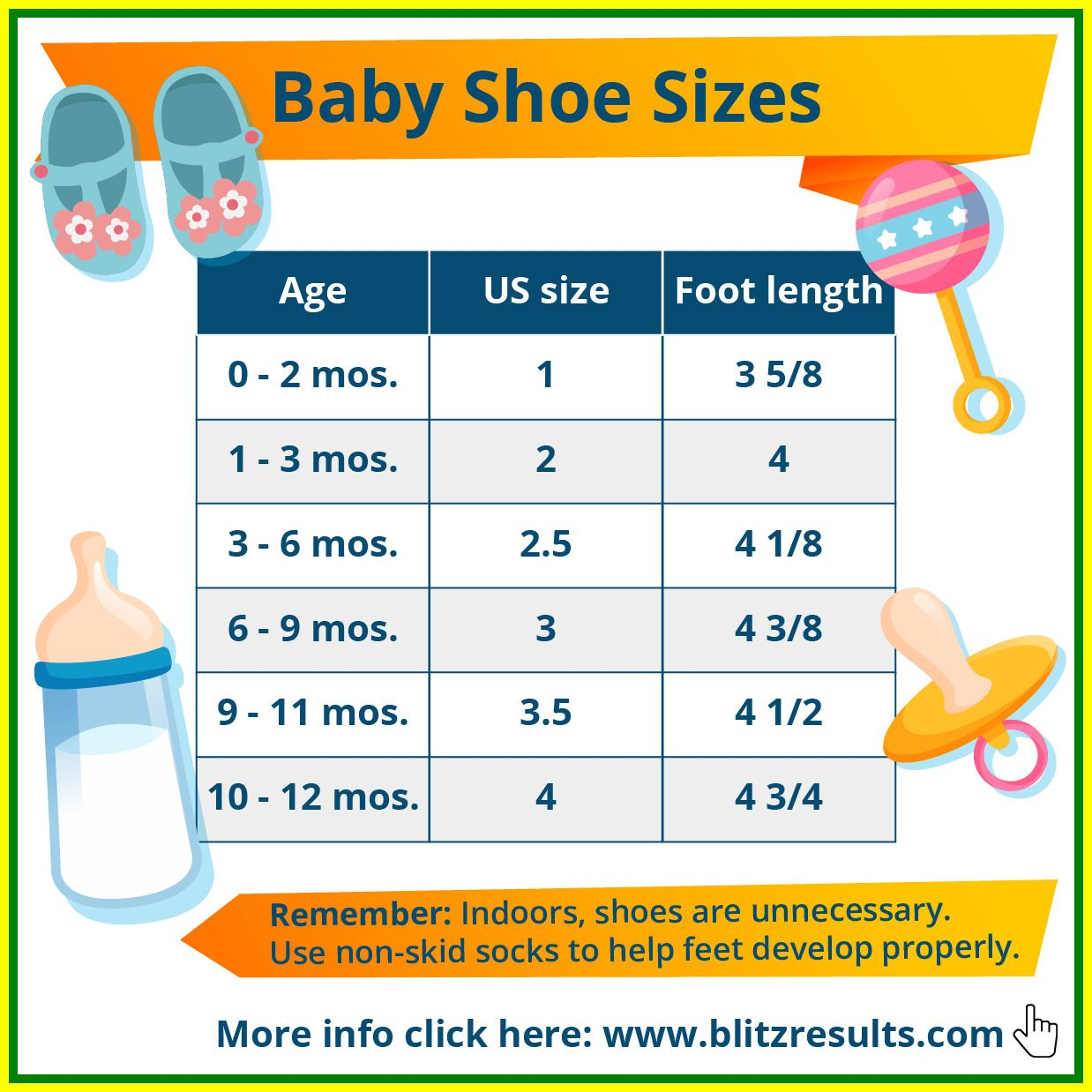 shoe size baby 18 months