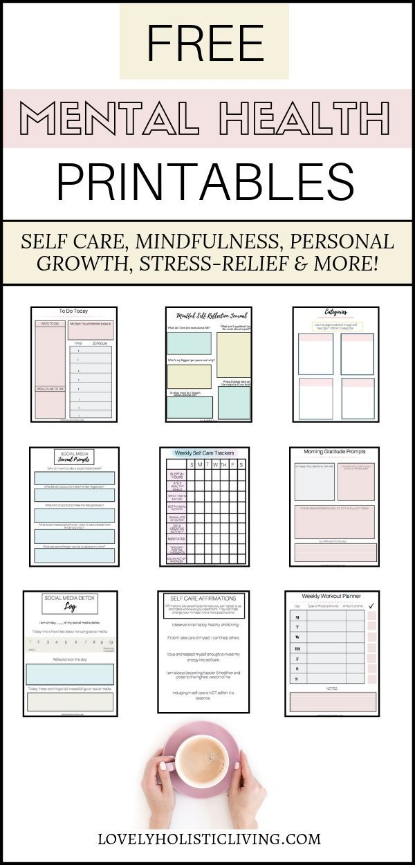 Free Printables for Mental Health, Self Care and Personal Development