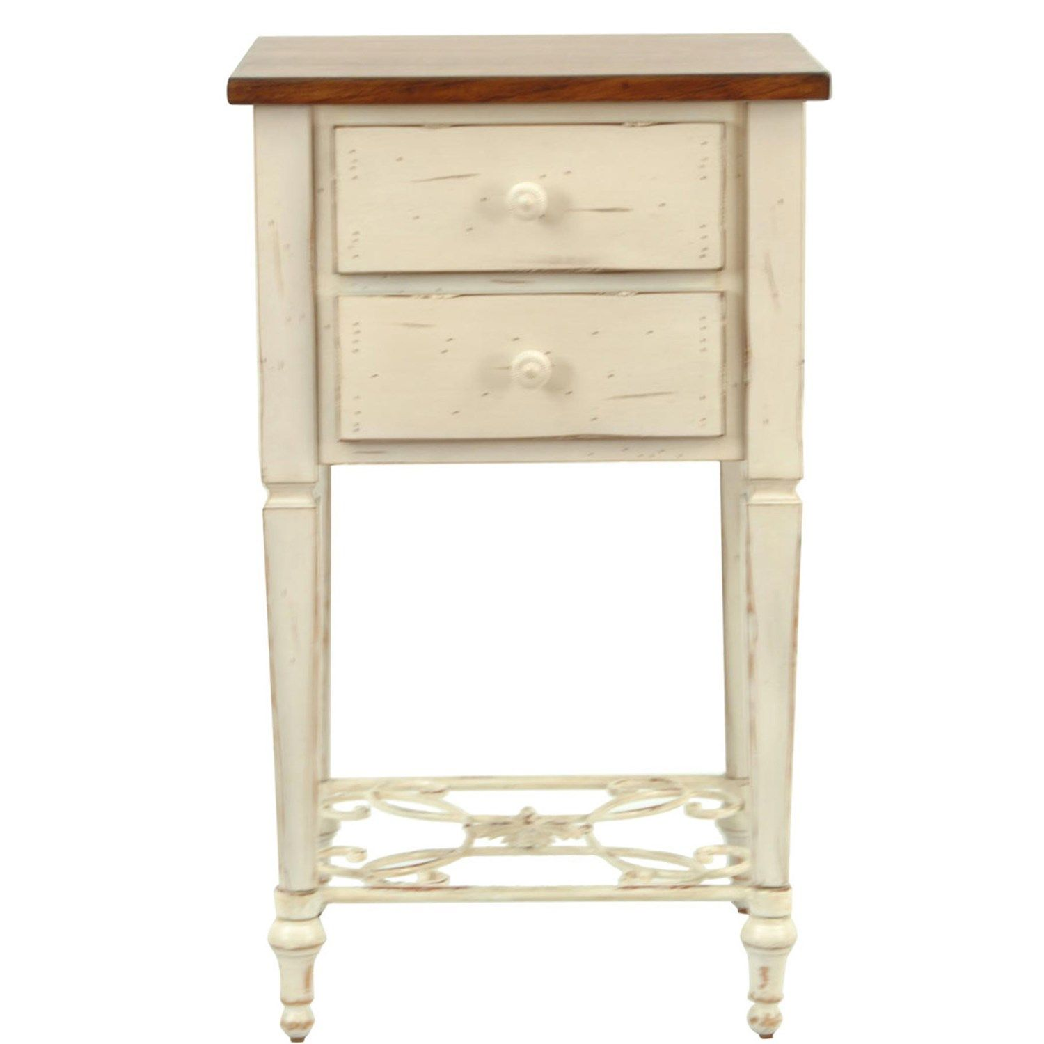 safavieh amh4004a monica 2 drawer end table in white wash and light brown - White Wash End Tables