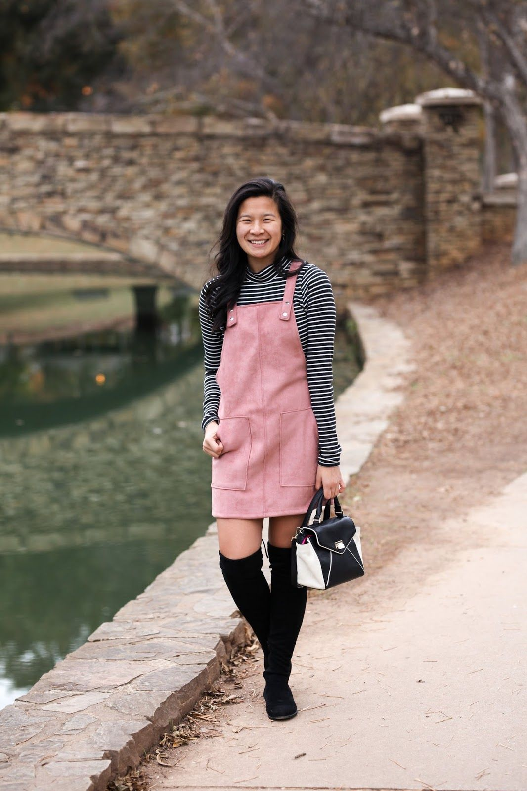 8ae3fbc5c3 Pink overall dress - pink suede dress - how to style an overall dress - girly  outfit - winter outfit