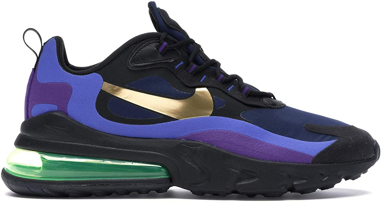 realidad Casarse musical  Amazon.com | Nike Air Max 270 React, Black / University Gold-deep Royal  Blue, 8.5 | Road Running | Nike air max, Nike air, Nike
