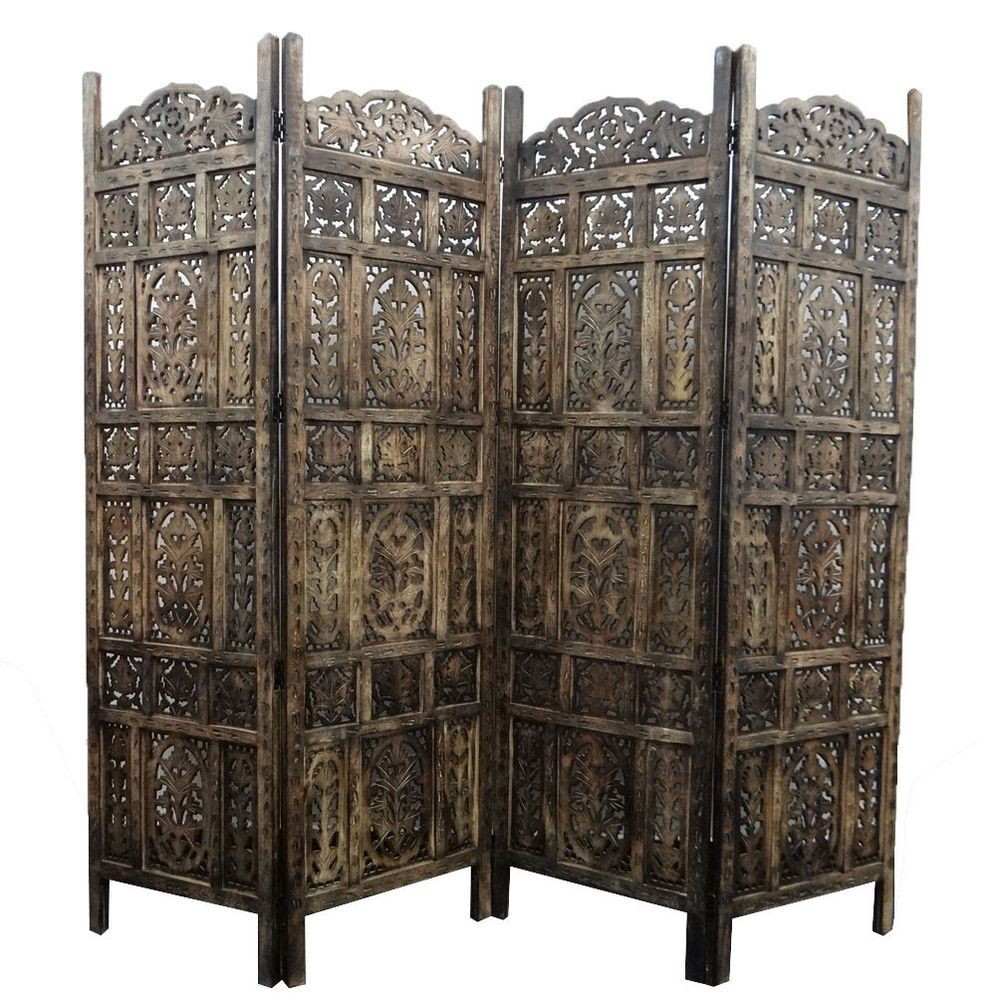 thai indonesian hand carved wood room divider screen  panel heavy  - vintage style panel screen room divider fordable handcrafted wood partitionwpn