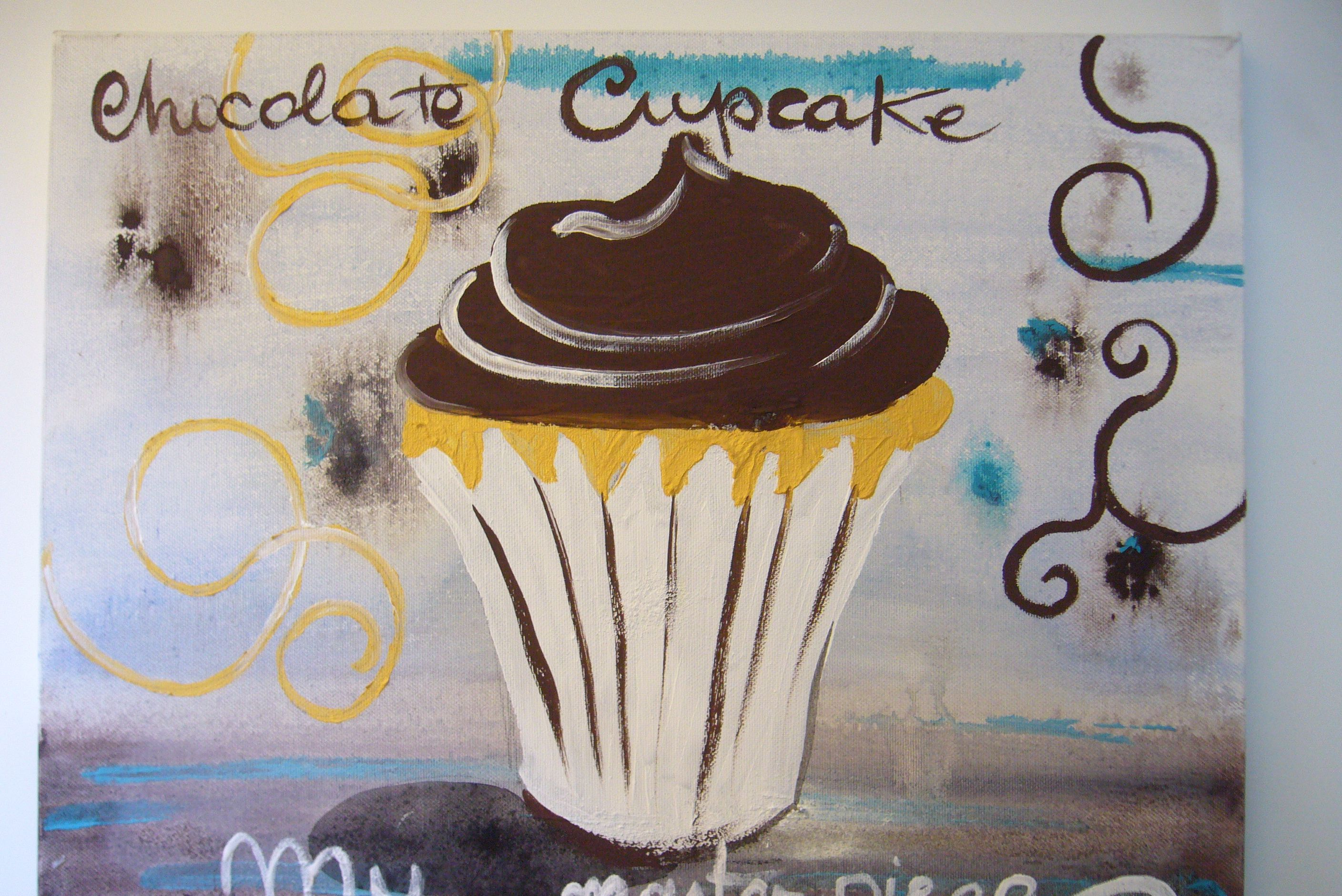 Chocolate Cupcake painted on a canvas.