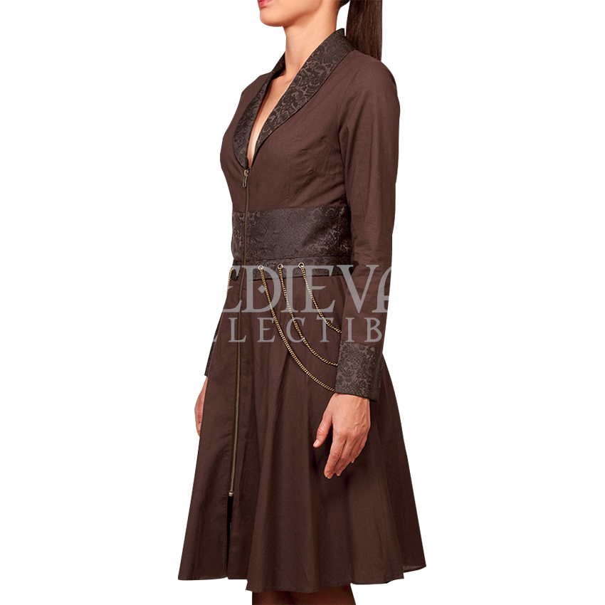 Steampunk Long Sleeved Brown Cotton Chain Dress - VG-0228 by Medieval Collectibles