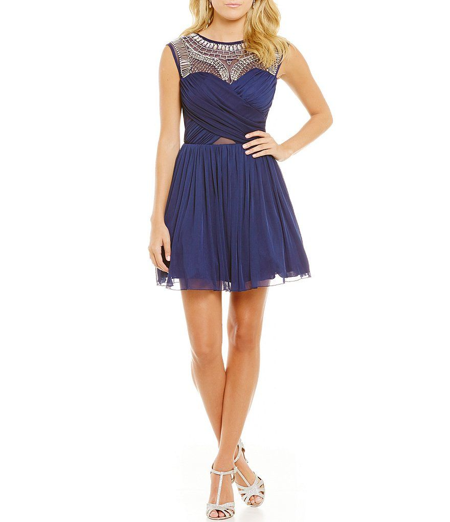 B darlin beaded yoke wrap bodice skater dress bodice dresses and