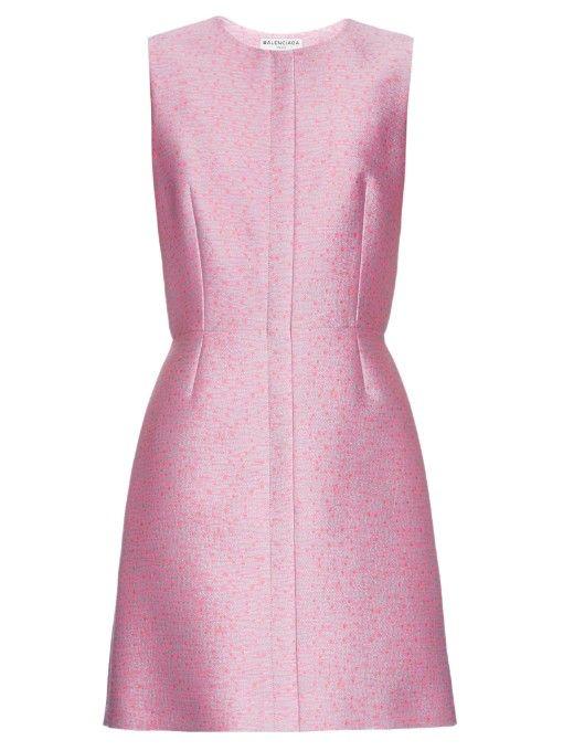 Balenciaga Tweed-jacquard sleeveless dress