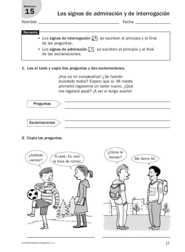 Lengua repaso y ampliación 3º primaria Santillana   Mi clase de ...