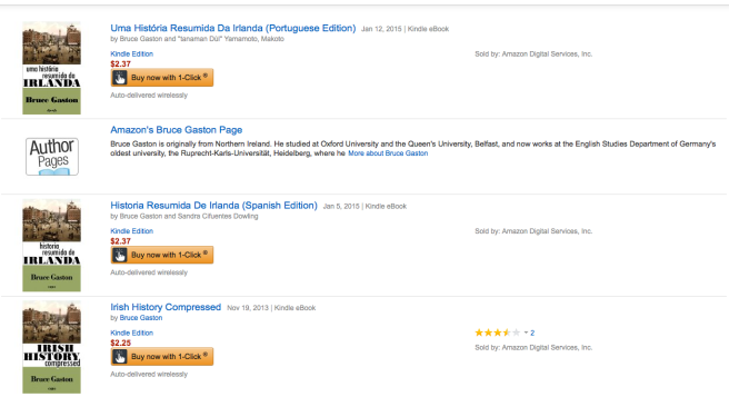 Screenshot from amazon.com showing Irish History Compressed e-book in English, Spanish and Portuguese