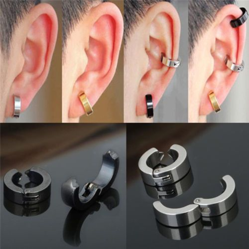1 Pair Punk Men Stainless Steel Non Piercing Clip On Ear