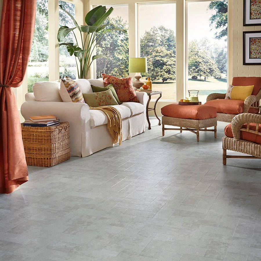 Luxury Vinyl Flooring in Living Room   Union Way Concrete by Mannington   Vinyl sheet flooring ...