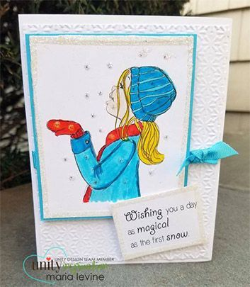 """BRAND NEW on the UNITY Website!! This adorable collector's stamp kit is from Illustrator Phyllis Harris. This kit contains 2 stamps. She is an artist for the popular HIGHLIGHTS magazine for children as well as stamp illustrator for Unity Stamp Company. She has SEVERAL releases with Unity – and you simply can click HERE. Girl catching snowflakes measures approximately 2.75"""" x 3.25"""". """"Wishing you a day as magical as the first snow"""" sentiment measures approximately 1"""" x 1.75"""". All Unity ..."""