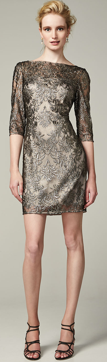 Kay Unger New York Metallic Lace Overlay Cocktail Dress Deb:If I ...