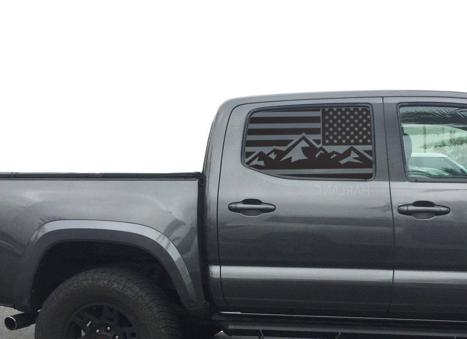 Toyota Tacoma Mountain American Flag Decals For 2016 2019 Etsy American Flag Decal Toyota Tacoma Flag Decal