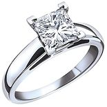 1.00 Carat Princess Cut Canadian Diamond, 14k White Gold Solitaire Engagement Ring