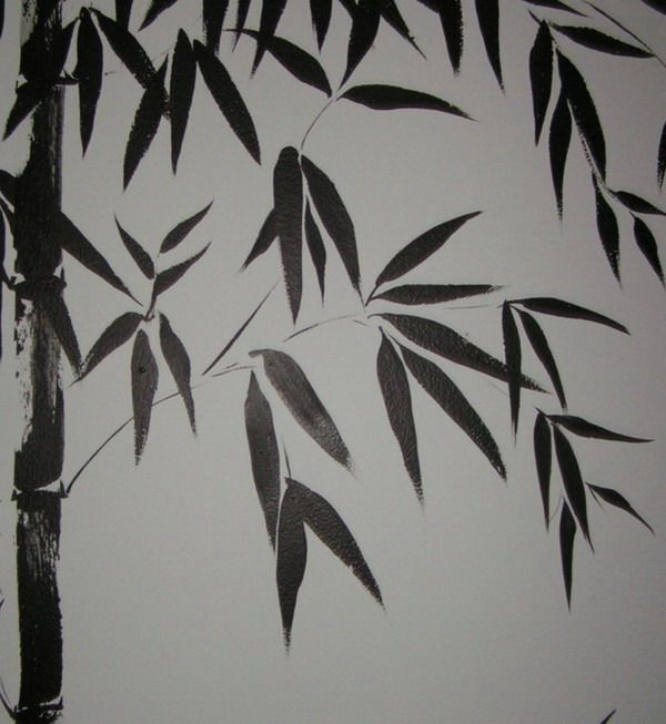 Painting Natural Color Bamboo Wall Murals Design Ideas