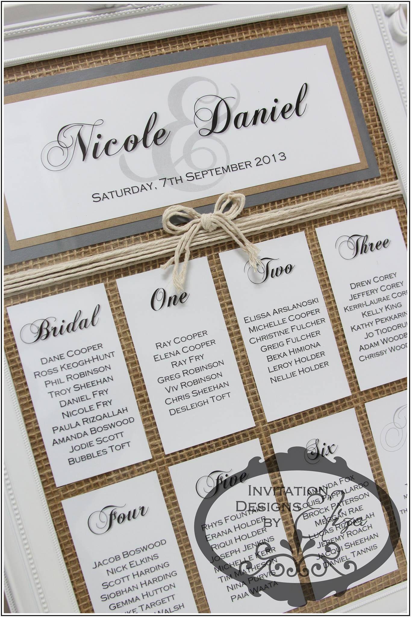 Seating Plan for Nicole & Daniel {Wedding} Hessian Rustic Theme www ...