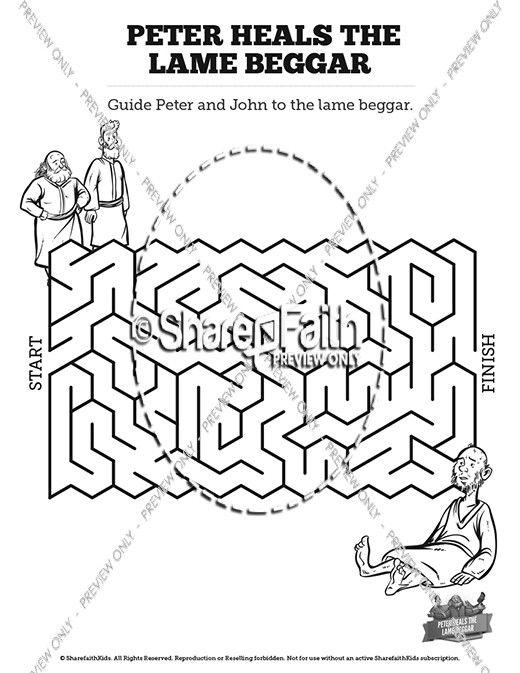 Prentresultaat vir peter heals a lame man coloring page