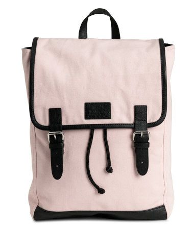 Powder pink. Backpack in cotton canvas with faux leather