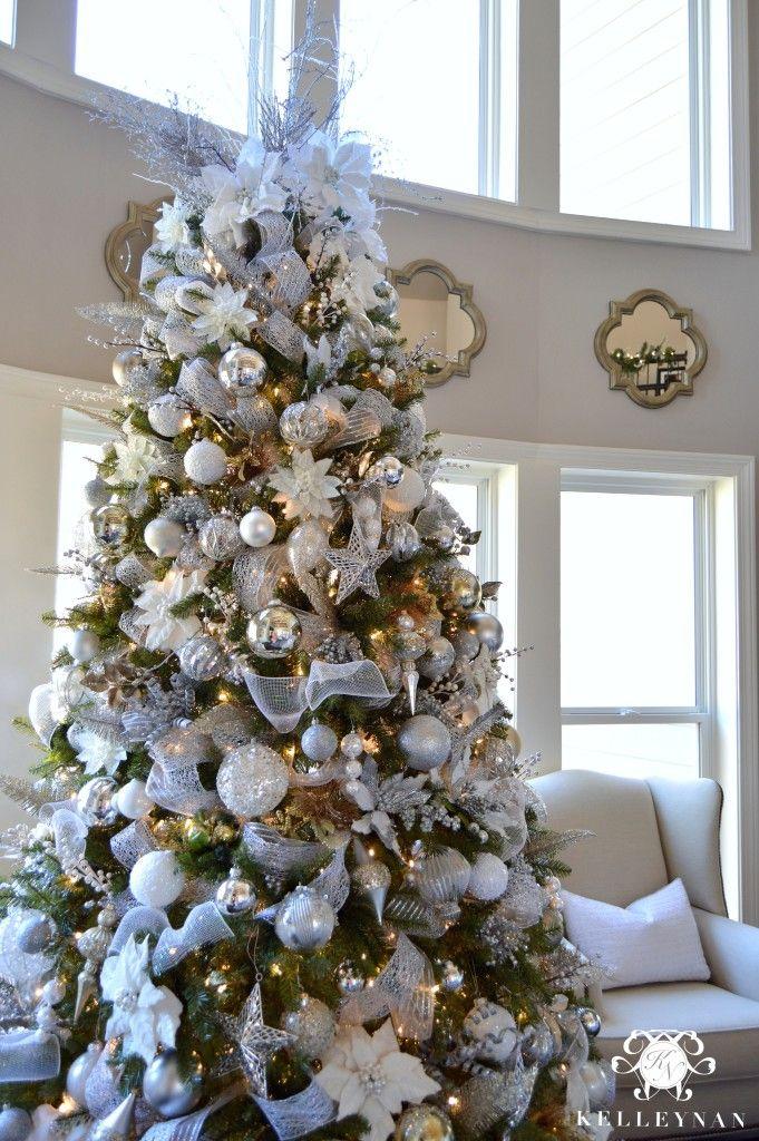 2015 Christmas Home Tour Kelley Nan Silver Christmas Tree Christmas Tree Decorating Tips Gold Christmas Tree