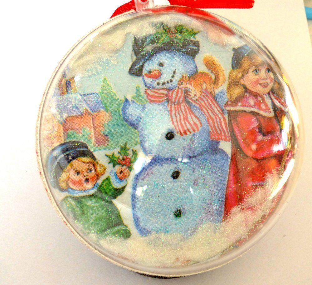 Decoration noel à suspendre, boule de noel 2faces, neige et