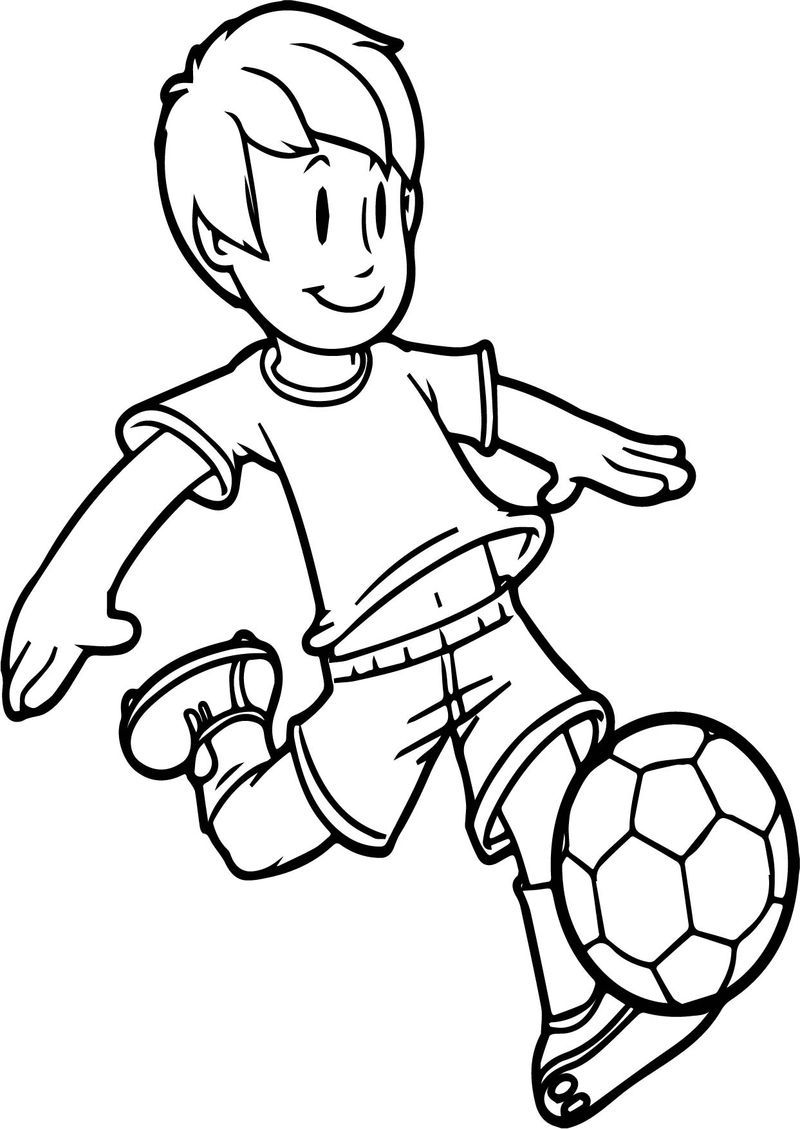 Cartoon Boy Playing Soccer Kid Ball On Easy Coloring Page Cute