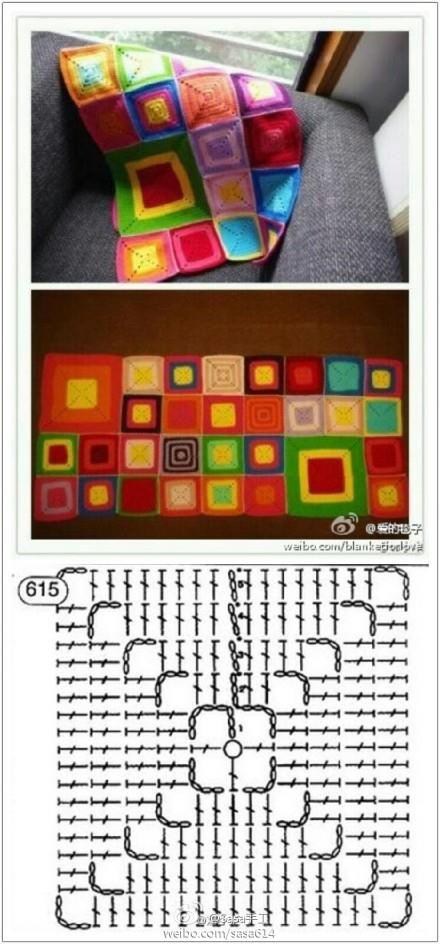 Patrones para Crochet: Patron Crochet Manta Cuadrados | cuadrados ...