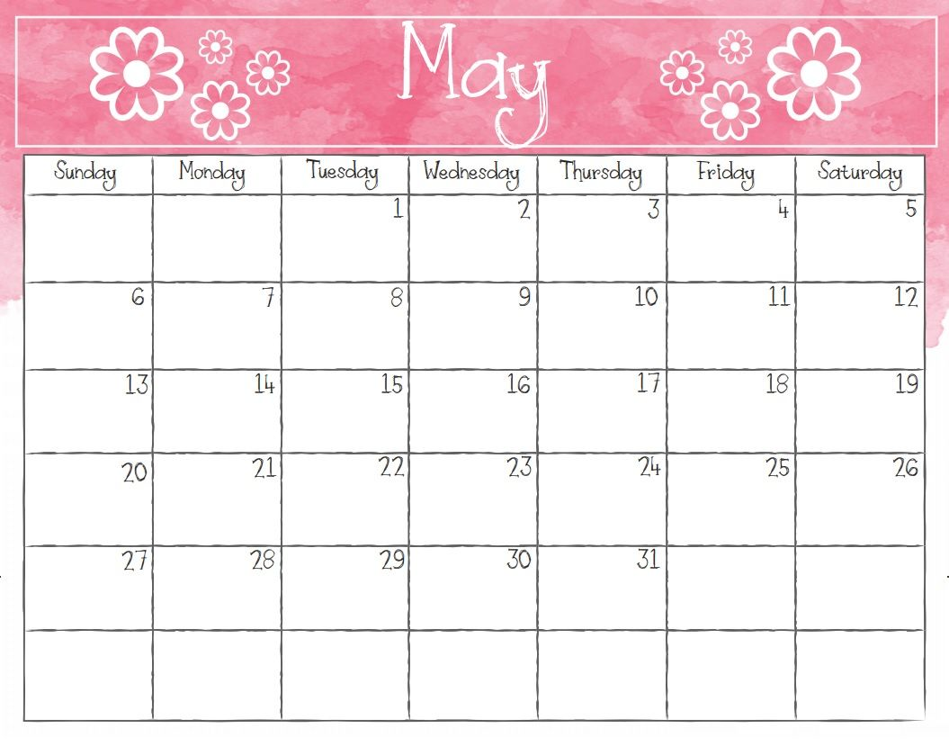 Watercolor May 2018 Desk Calendar