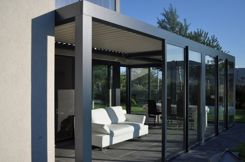 Biossun benelux project terrasoverkapping pergola couverture de terrasse met/avec verschuifbare ...